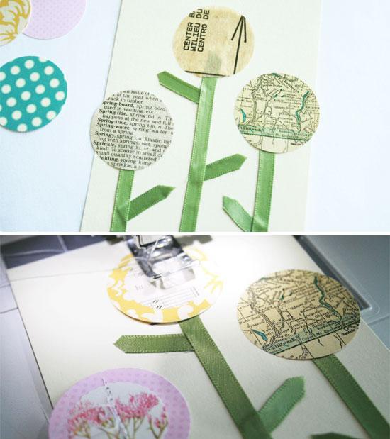 Шьем открытку с цветами своими руками