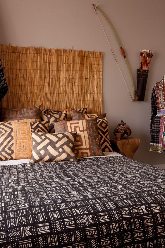 декор спальни в стиле сафари