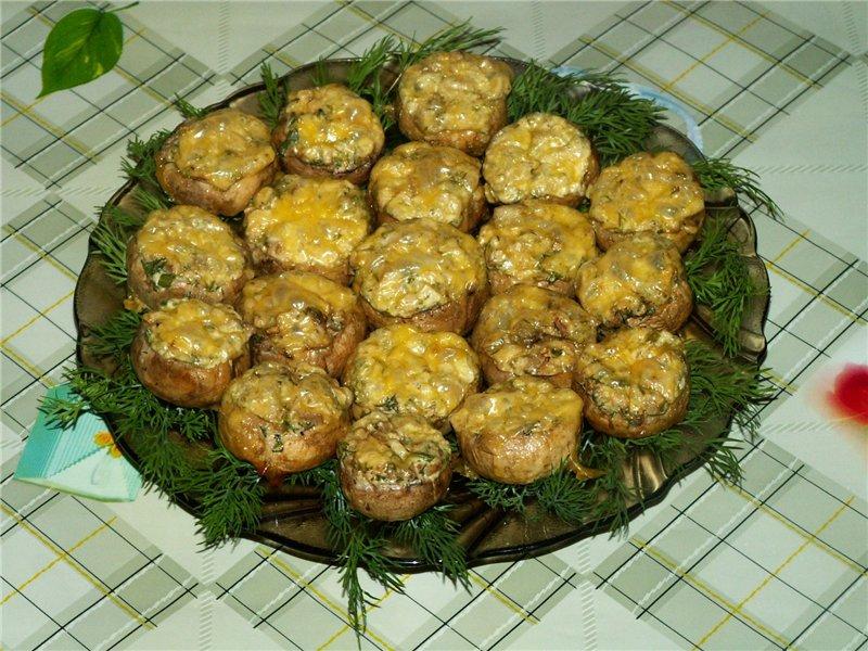 Фаршированные шампиньоны в духовке с сыром и фаршем пошагово в