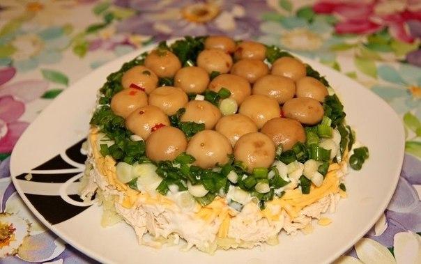Салат с шампиньонами поляна на