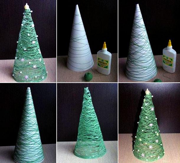 новогодняя елка из ниток мастер-класс