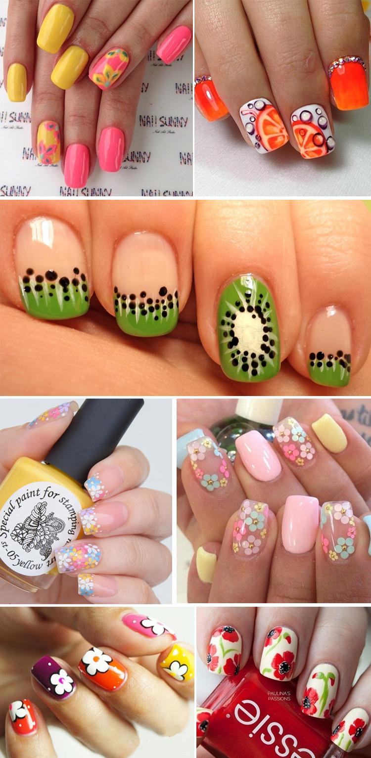 Летний дизайн ногтей, яркий летний маникюр с цветами 80