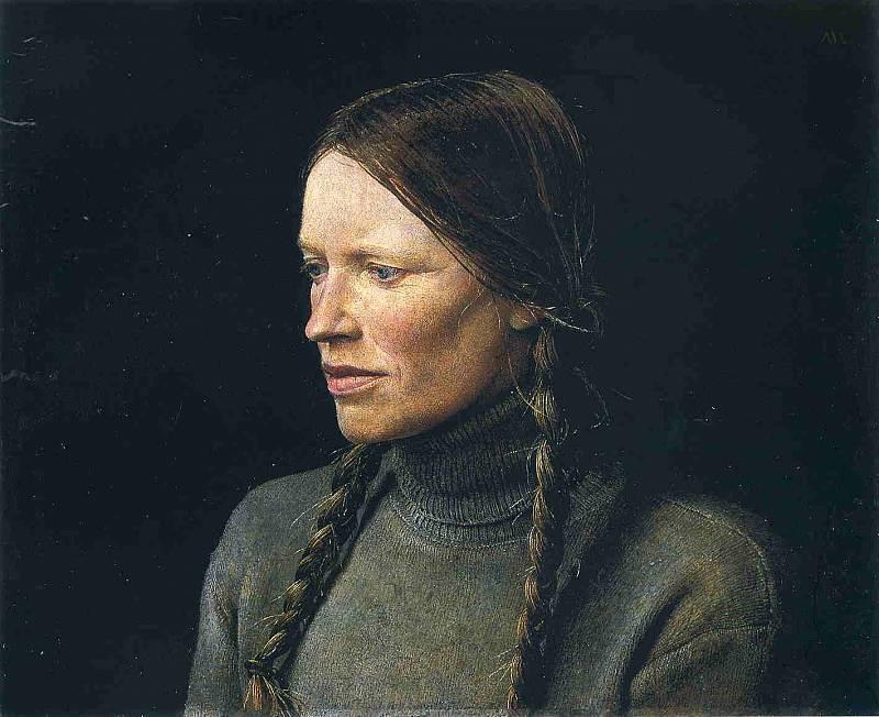 Эндрю Уайет. Девушка с косами, 1979