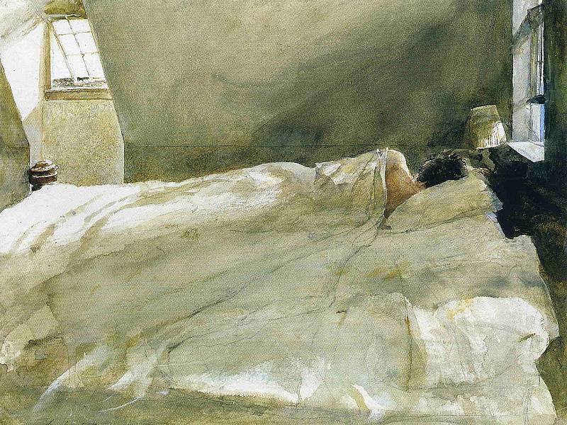 Эндрю Уайет. В кровати, 1940