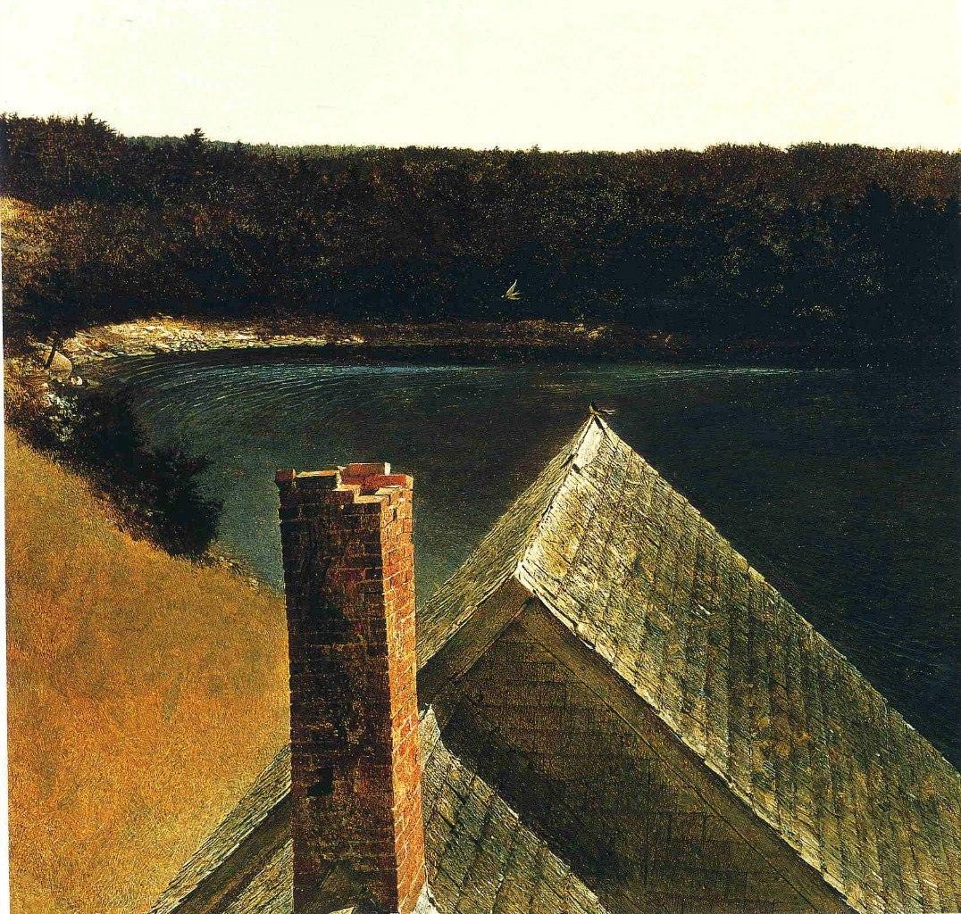 Эндрю Уайет. Крыша дома Ольсонов, 1969
