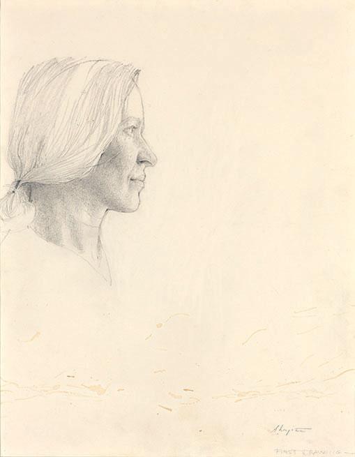 Эндрю Уайет. Хельга, 1971 г. Первый рисунок