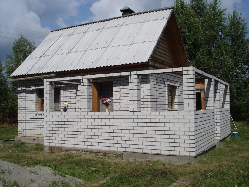 пристройка к деревянному дому из блоков