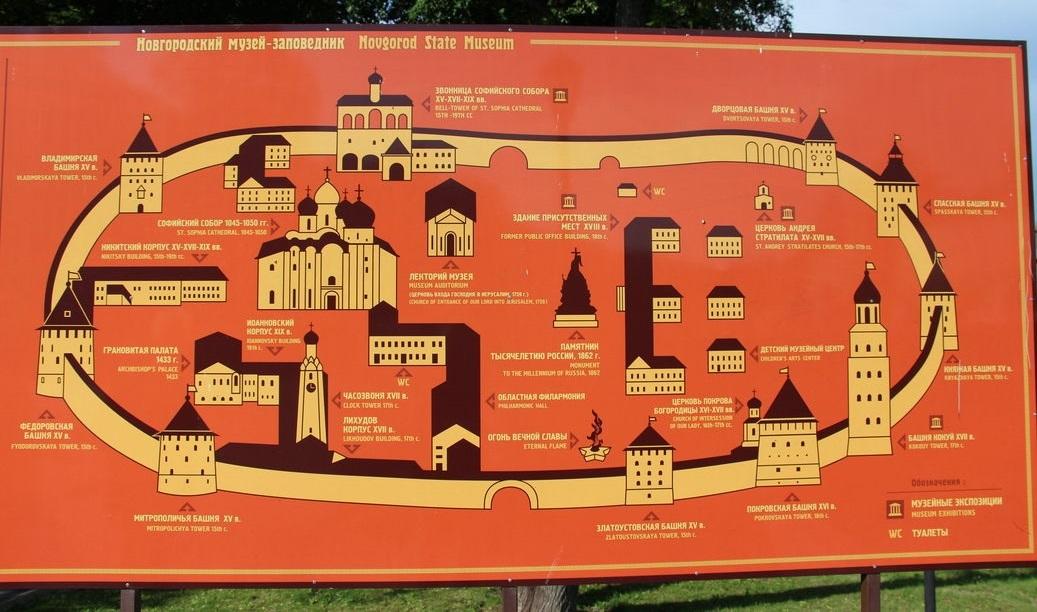 Схема Музея-заповедника - Новгородский Кремль