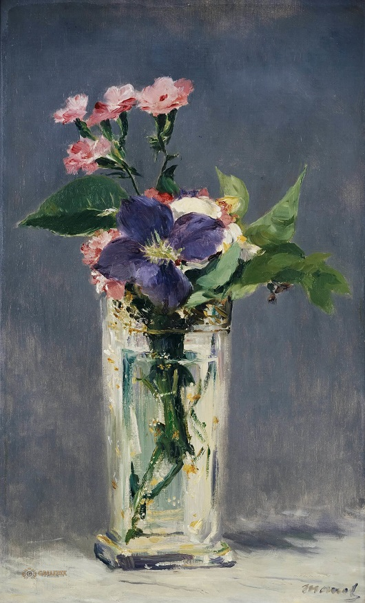 Картинки по запросу pinks and clematis in a crystal vase