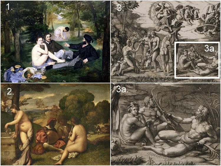 Картина «Концерт на открытом воздухе» («Пасторальный концерт», «Сельский концерт») Дорджоне и/или Тициана и гравюра Маркантонио Раймонди «Суд Париса»