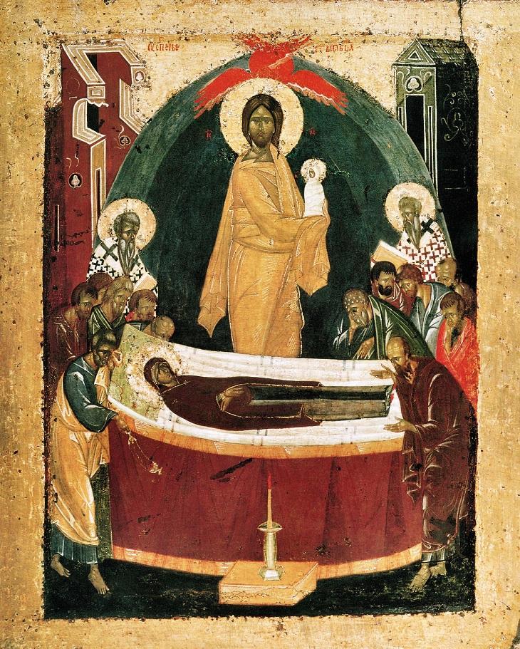 Икона «Успение Божией Матери», оборот Донской иконы. Приписывается Феофану Греку.