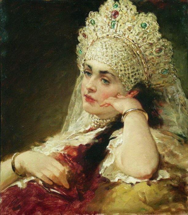 Девушка в жемчужном ожерелье. Художник Константин Маковский