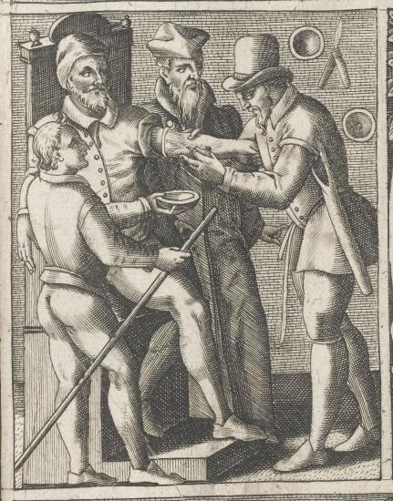 Лечение болезни с помощью кровопускания. Гравюра эпохи Возрождения