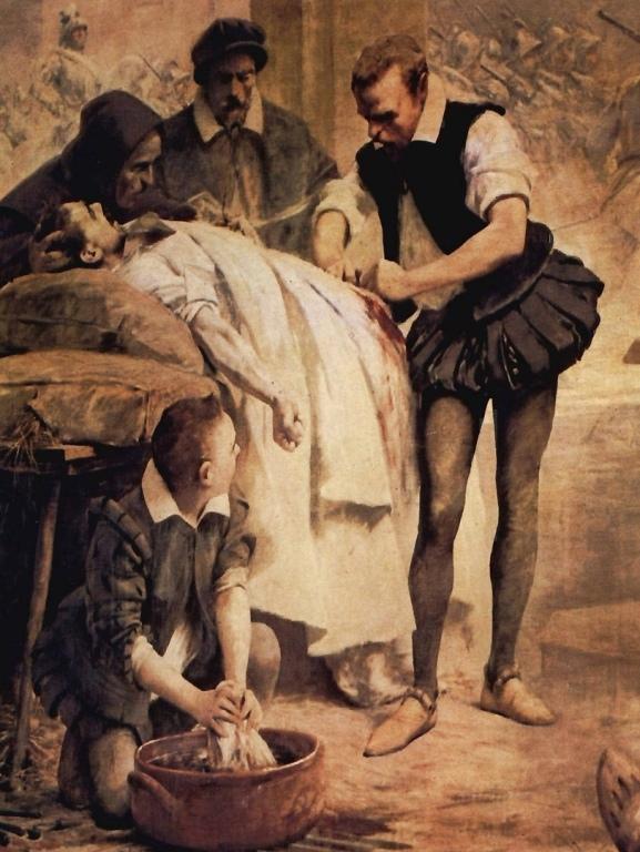 Амбруаз Паре оказывает помощь раненому после сражения