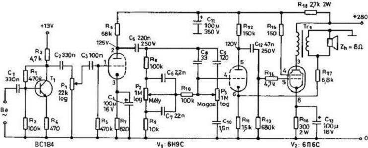Схема лампового УНЧ