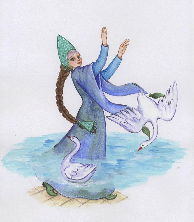 Из рукавов Царевны - лягушки вылилось озеро и полетели лебеди