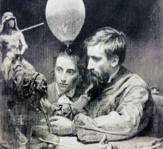 Е.А. Лансере с женой