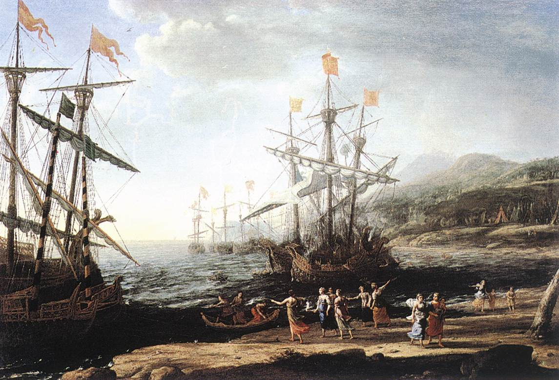 Троянки, сжигающие свои корабли (1643). Художник Клод Лоррен