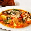 Гречневый суп с шампиньонами на квасе