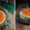 Блинный торт с лососем