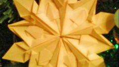 Как сделать оригами-снежинку