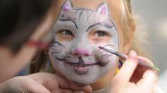 Как нарисовать красиво кошку на лице