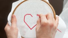 How to embroider a cross on the canvas