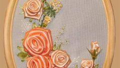 Как вышивать лентами розы