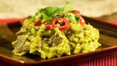 Как приготовить курицу с грибным ризотто и зеленым соусом