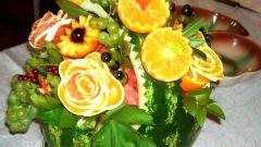 Как сделать фруктовую корзинку из арбуза