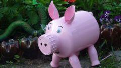 Как из бутылки сделать свинью