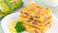Сырный пирог сосисками