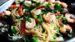 Креветки Скампи со спагетти