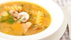 Тыквенно-грибной суп с фузилли
