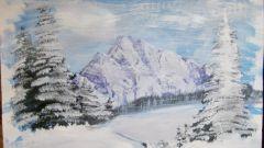 Как нарисовать зимние горы гуашью