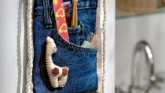 Как сделать джинсовый карман для косметики