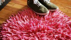 Как сделать мохнатый коврик из трикотажных ниток