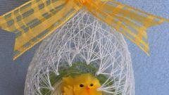 Как сделать пасхальное яйцо из ниток