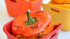 Постные перцы с чечевицей и грибами