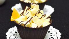 Шоколадные корзинки с апельсиново-сливочным желе