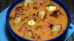 Гороховый суп с чесночным маслом