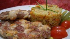 Плетеное мясо с овощами и рисом