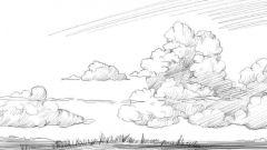 Как нарисовать небо карандашом