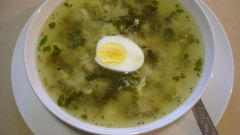 Суп с шампиньонами и щавелем