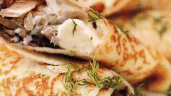 Фаршированные кружевные блинчики с начинкой из куриного мяса и грибов