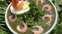 Суп-пюре из щавеля с креветками