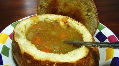 Суп-крем с шампиньонами в хлебе