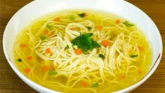 Chicken broth with noodles