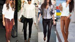 С чем носить кожаные классические брюки