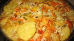 Судак, запеченный в духовке с овощами